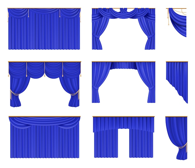 青いカーテンセットイラスト
