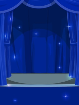 Blue curtains on stage. circus or theater empty stage with opened drapery, cartoon vector background or backdrop with concert hall, stand up club, music performance empty stage with shiny magic sparks