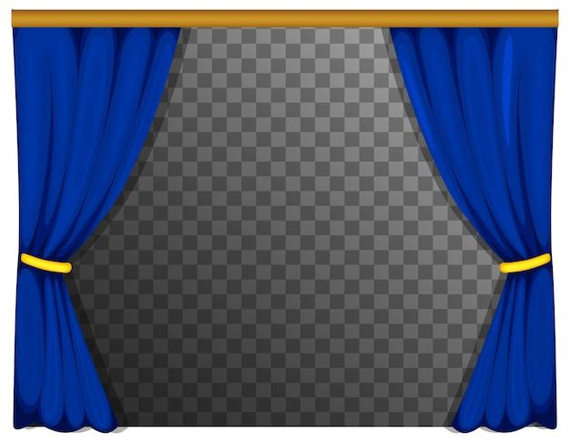 Синие шторы с прозрачным