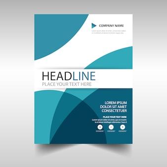 Blue curve abstract letterhead template design