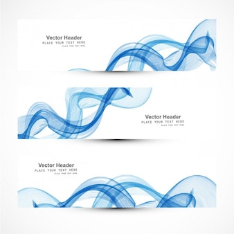 Blue curvy abstract banners collectoin