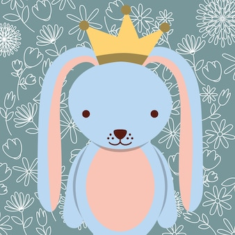 Blue cute rabbit with crown floral background