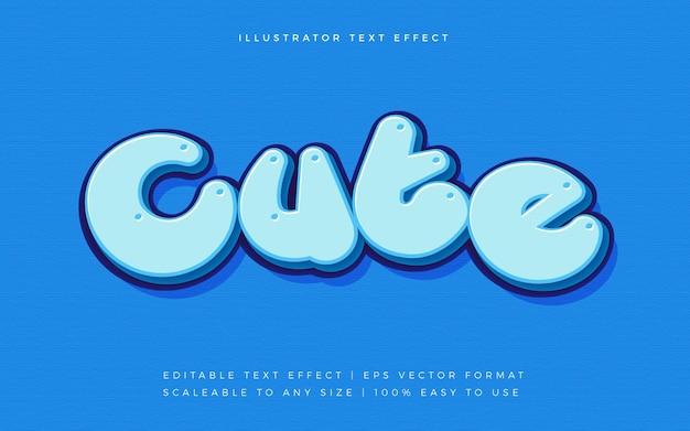 파란색 귀여운 둥근 텍스트 글꼴 효과