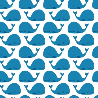Blue cute whales pattern on white background