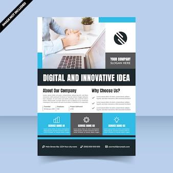 青シアンのモダンなチラシテンプレートデザインデジタルで革新的なアイデアエージェンシー