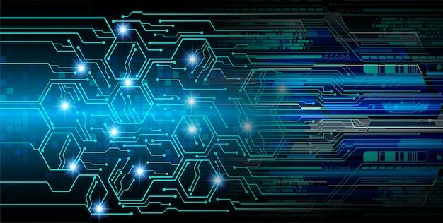 青いサイバー回路の将来の技術概念の背景