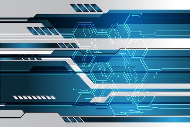 Blue cyber circuit future technology concept