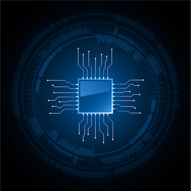 Blue cyber cpu circuit future technology concept background