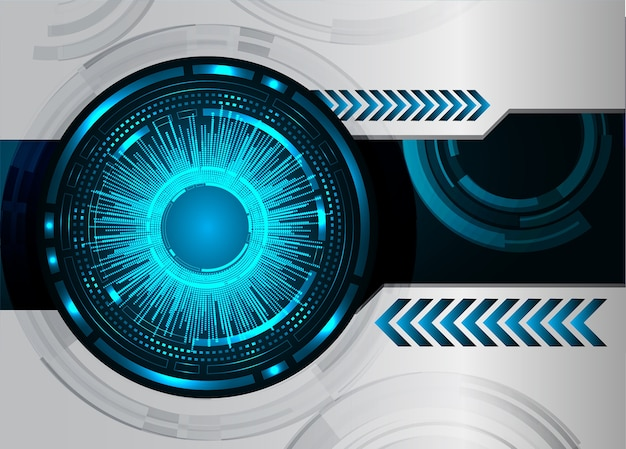 Blue cyber eye circuit future technology concept background