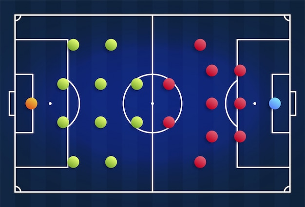 Premium Vector A Blue Cyber Football Field With A Tactical Scheme Of The Arrangement Of Players Of Two Soccer Teams On The Board Organization Of A Game Diagram For A Fantasy
