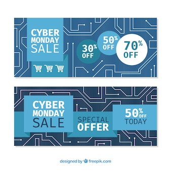 Blue cyber monday banners
