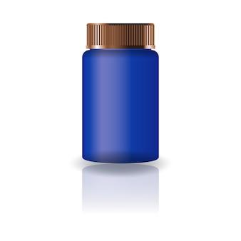 青色のシリンダーサプリメント、または蓋付きの薬瓶。