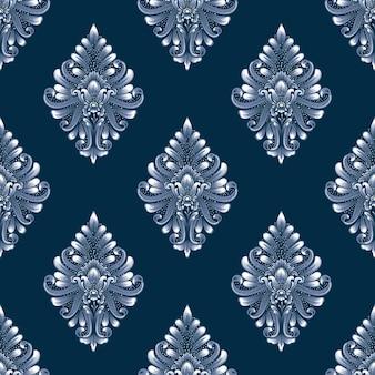 青いダマスクシームレスパターン
