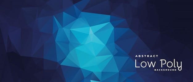 Blue and dark low poly abstract geometric banner