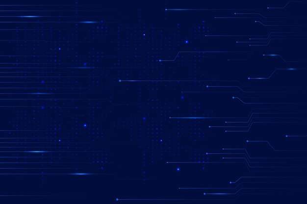 Blue data technology background with circuit lines