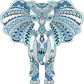 Blue decorated indian elephant