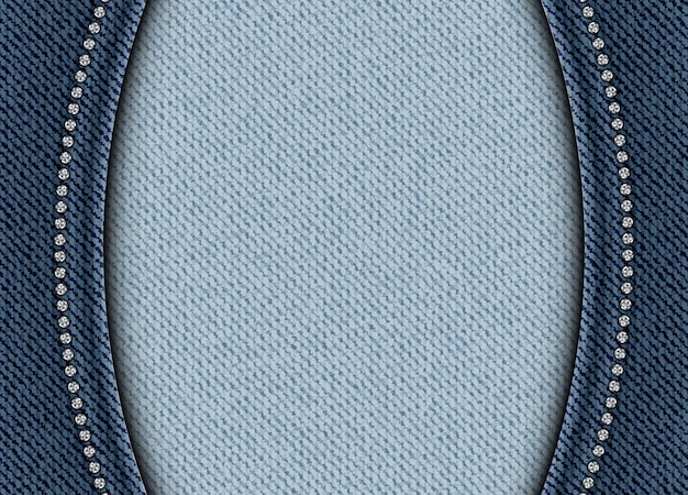 Blue denim background with arches and sequin borders