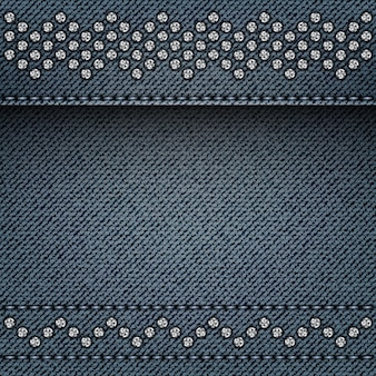 Blue denim background with stitches and silver spangle lines.