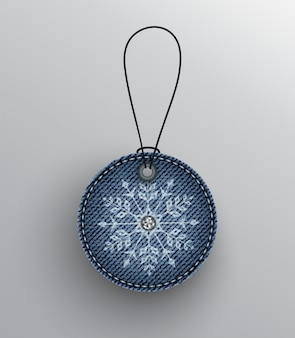 Blue denim badge with snowflake