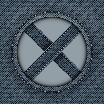 Blue denim banner with round frame and cross stripes inside with stitches.
