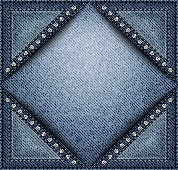 Blue denim banner with triangle pockets with stitches and sequins.
