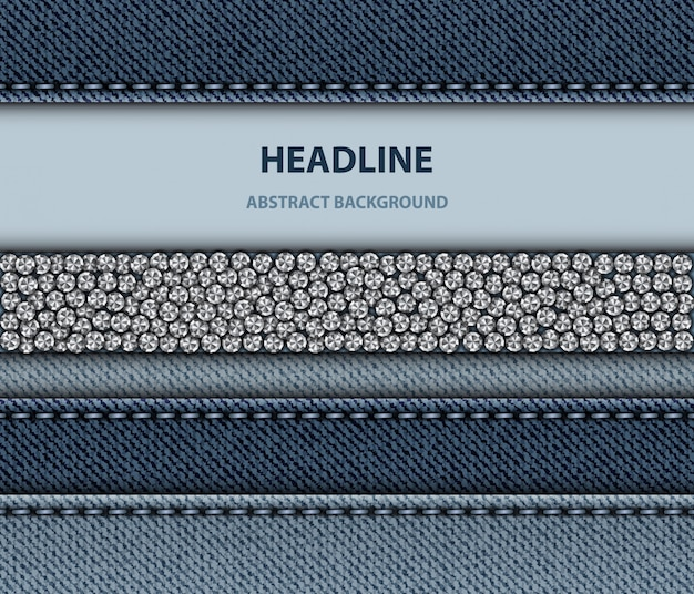 Blue denim design with stitching stripes