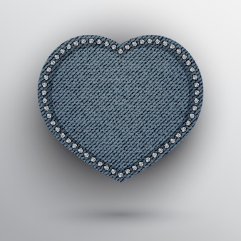 Blue denim heart with silver sequins