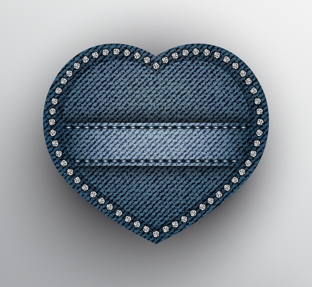 Blue denim heart with stitched stripe and silver sequins on boundary.