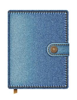 白い背景で隔離の青いデニムノートブック。