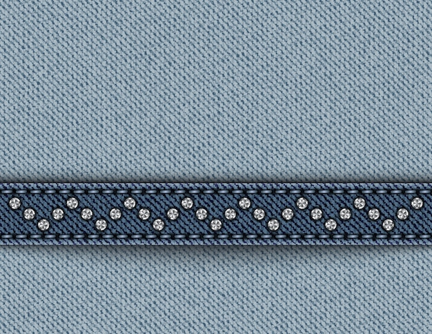 Blue denim with stripe with stitches and sequins