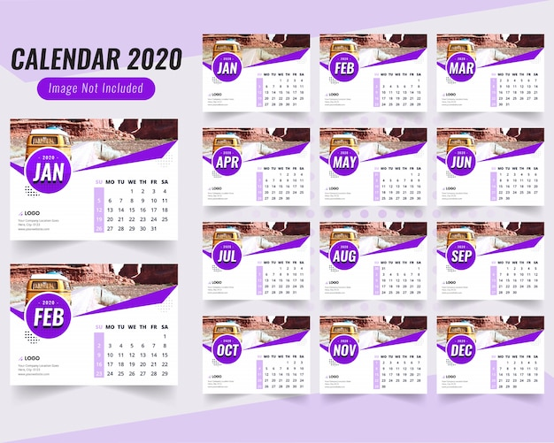 Blue desk calendar 2020 with blue shape