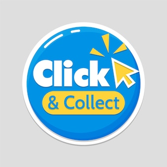Blue detailed click and collect sign