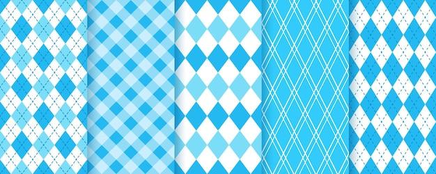 Бесшовные шаблоны синий бриллиант. баварские фоны октоберфест. набор принтов в клетку с ромбами