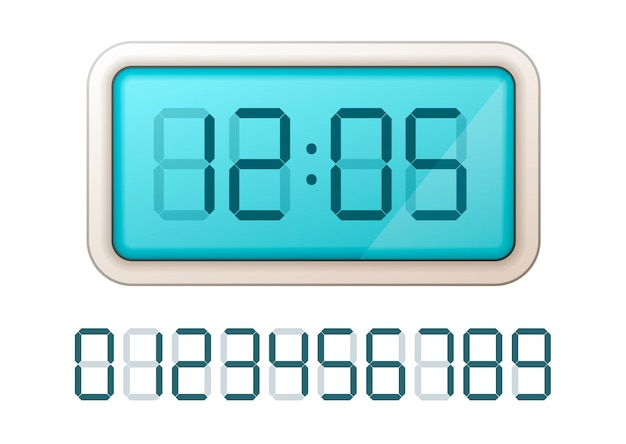 Blue digital clock display with set of retro electronic numbers on white