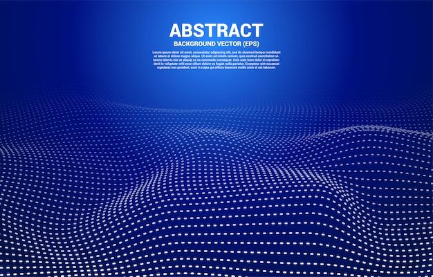 Синий цифровой контур кривой точки и линии и волны с каркасом.
