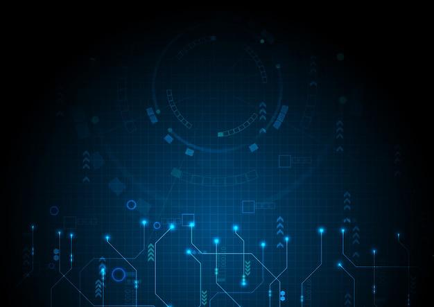 Blue digital data technology circuit background