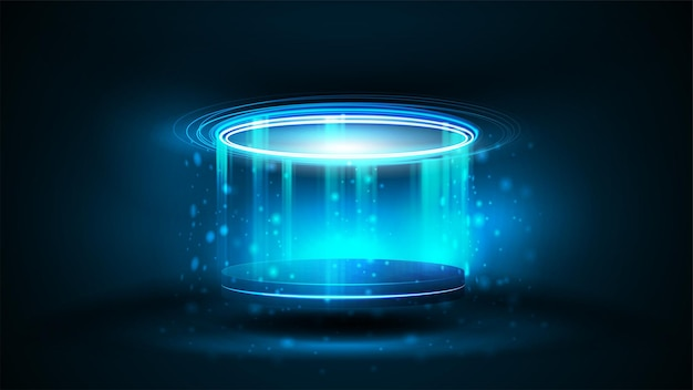 Blue digital hologram podium in cylindrical shape with particles and shiny rings in dark room. shine blue neon podium for product presentation, 3d realistic vector illustration.