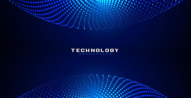 青いデジタル粒子ドット円形メッシュの背景