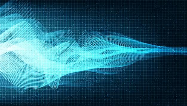 Blue digital sound wave и концепция волны землетрясения, дизайн для музыкальной студии и науки