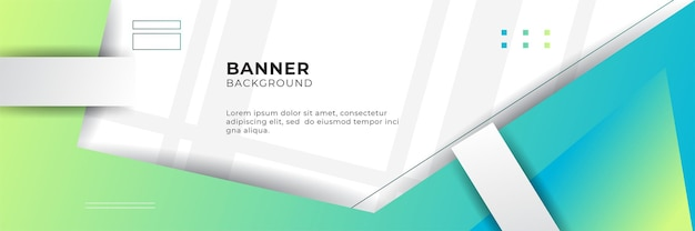 Blue digital technology banner background design template with gradient blue green yellow color.