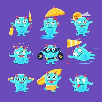 Blue dinosaur in different situations