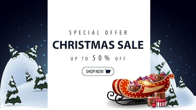 Blue discount banner with santa claus bag with presents