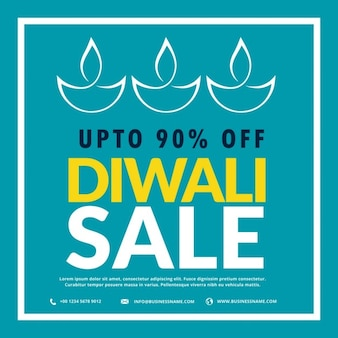 Blue discount voucher for diwali