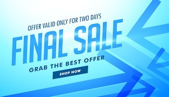 Blue discount voucher with arrows