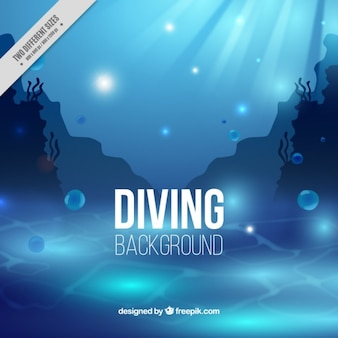 Blue diving background with seaweeds