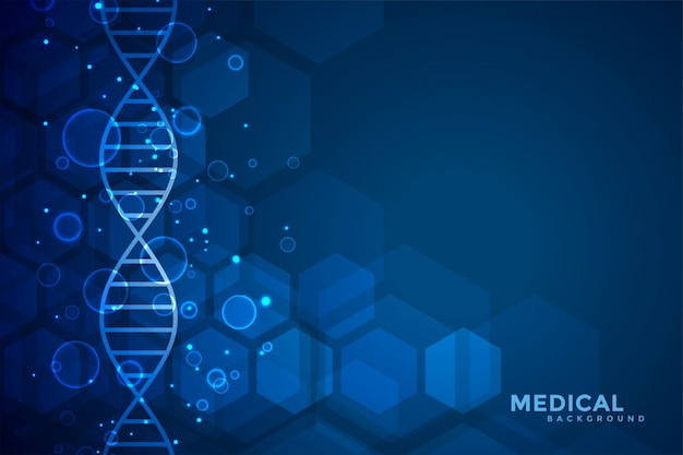 Blue dna blue medical and healthcare background