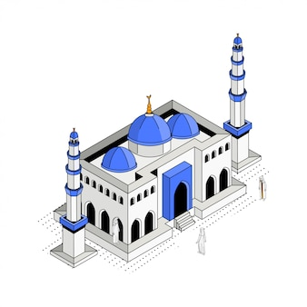 Blue dome mosque isometric illustration