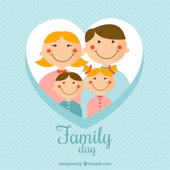 Синий точечный фон с счастливыми членами семьи