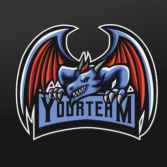 Спортивная иллюстрация талисмана синего дракона для логотипа команды по киберспорту