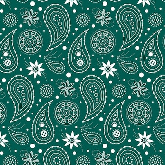 Blue drawn paisley pattern